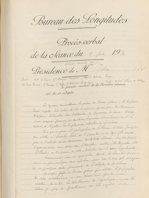 Procès-verbal de la séance du 17 juin 1931