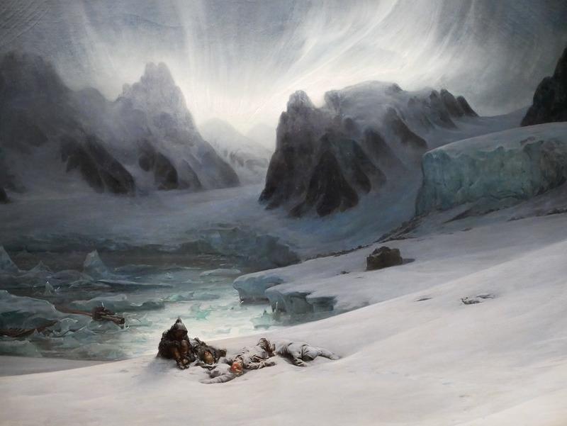 Magdalena Bay, vue prise de la presqu'île des tombeaux, au nord du Spitzberg ; effet d'aurore boréale