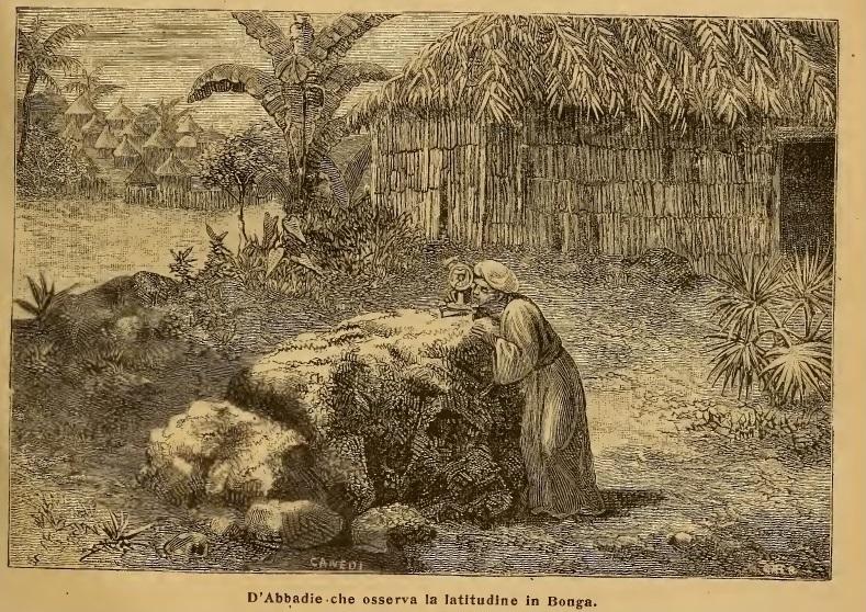 Antoine d'Abbadie observant la latitude à Bonga.
