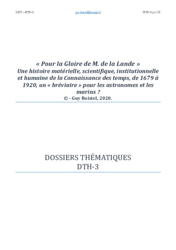 Dossier thématique DTH-3