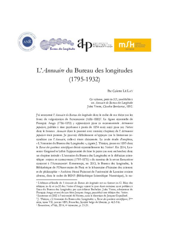 L'<em>Annuaire</em> du Bureau des longitudes (1795-1932)