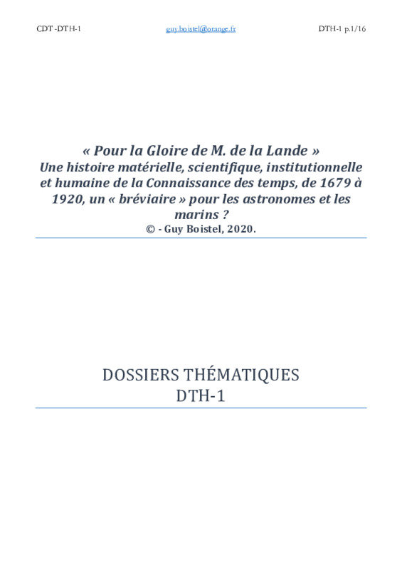 Dossier thématique DTH-1