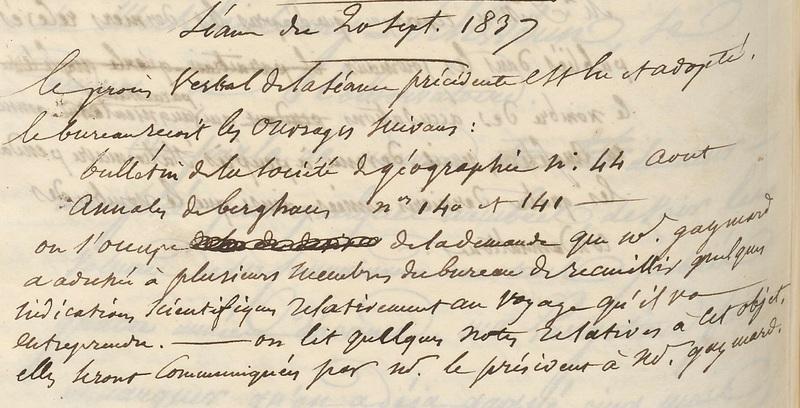 Procès-verbal du 20 septembre 1837
