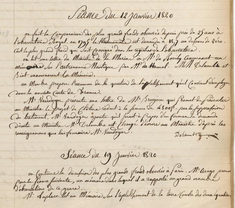 Procès-verbaux - Début janvier 1820