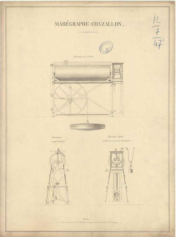 Plan du marégraphe – Chazallon (1/7). (source : Archives SHOM - Portefeuille 12-7.471)