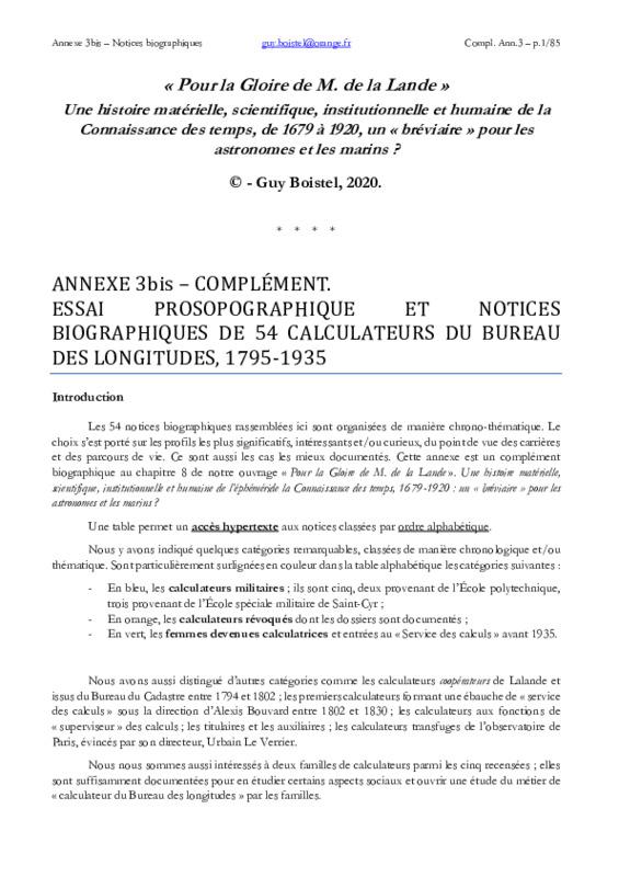 Notices biographiques des calculateurs du Bureau des longitudes