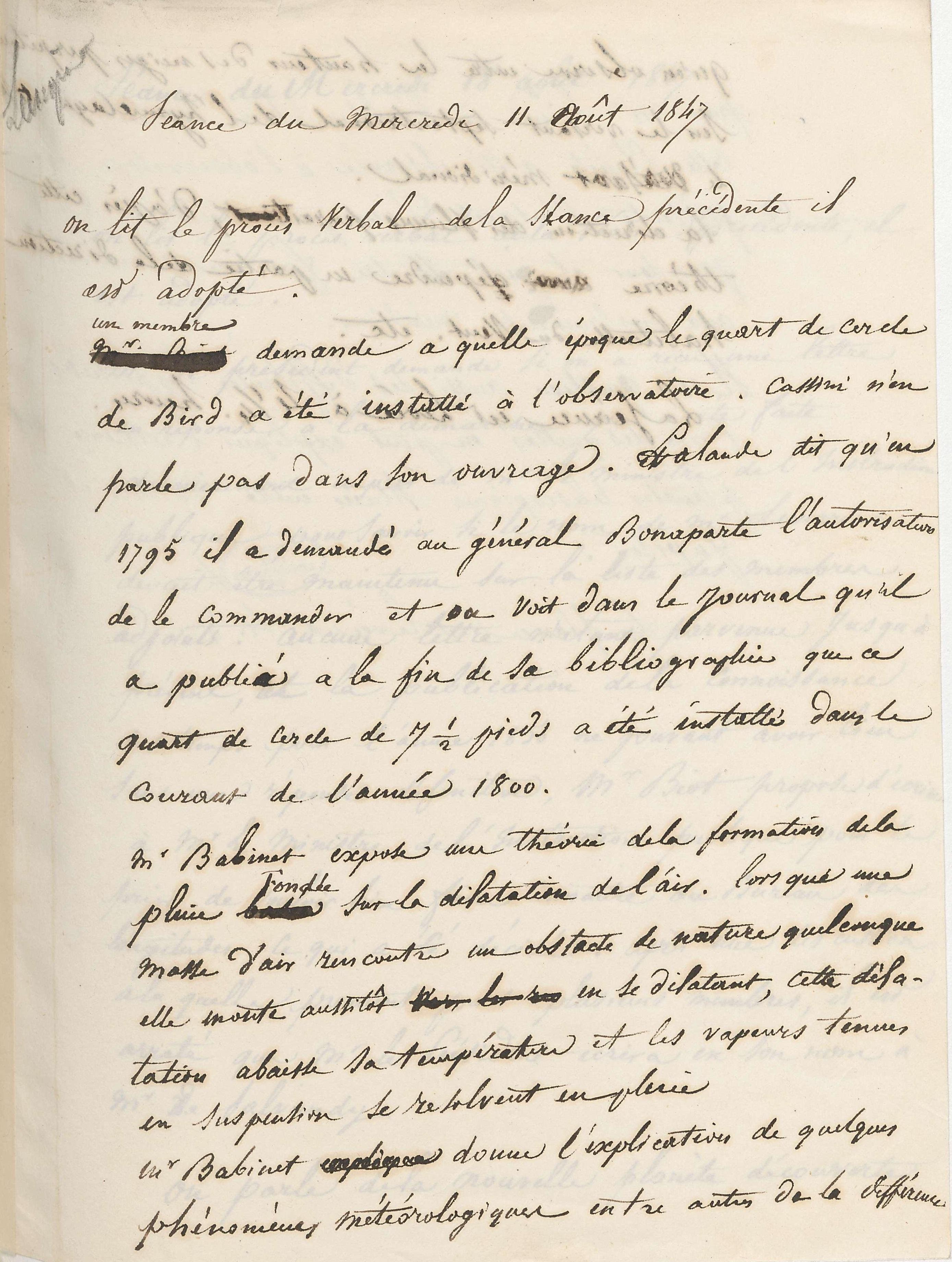 Procès-verbal du 11 août 1847