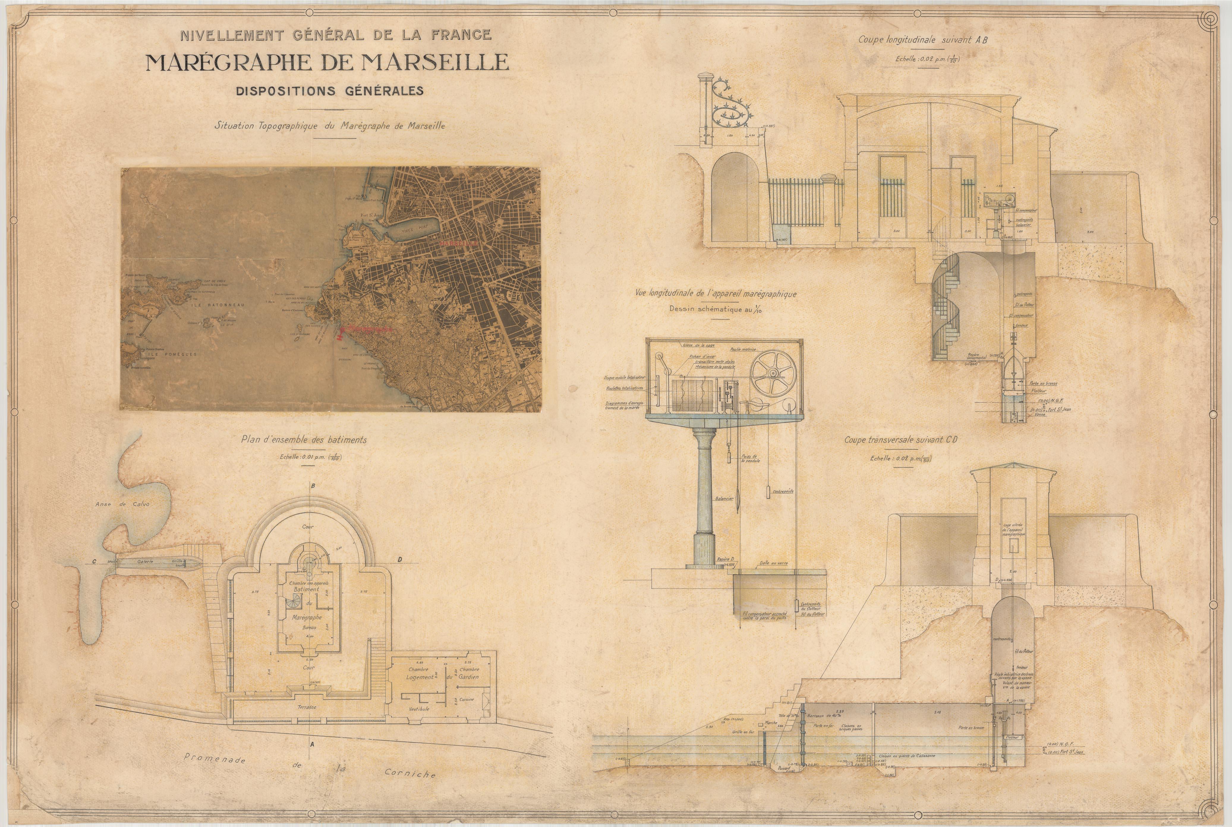 Plan du marégraphe de Marseille