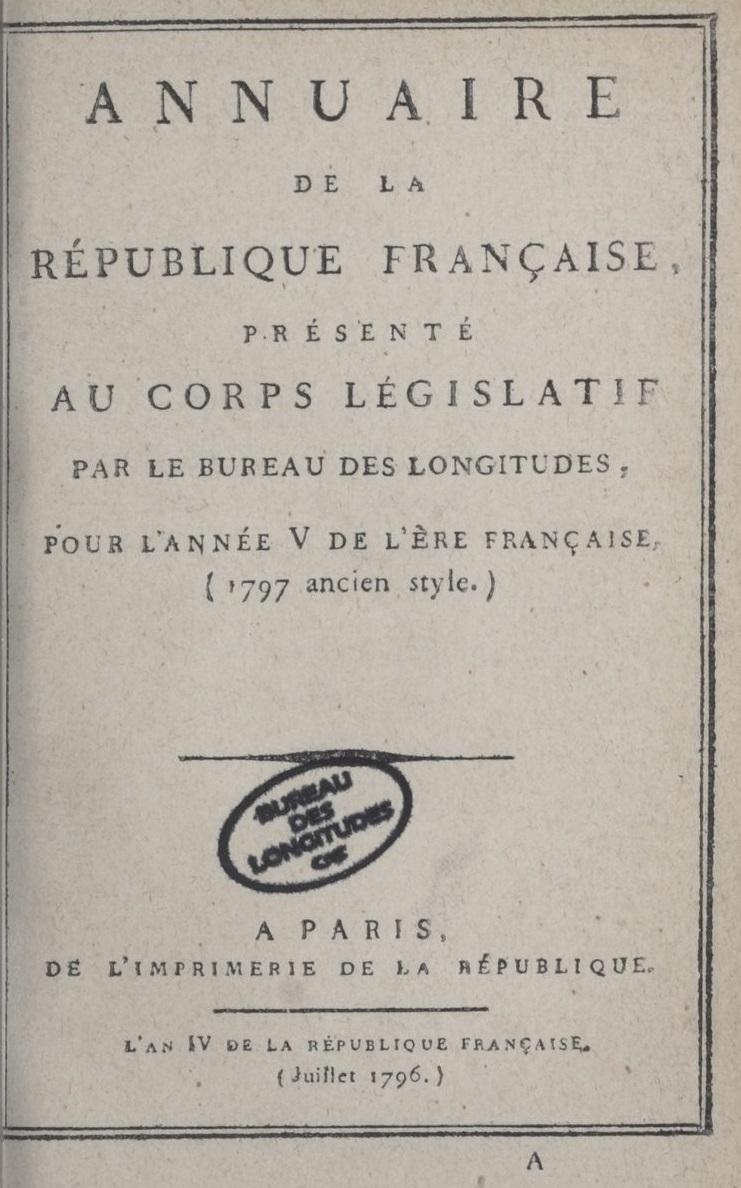 Annuaire du Bureau des longitudes pour l'année 1797