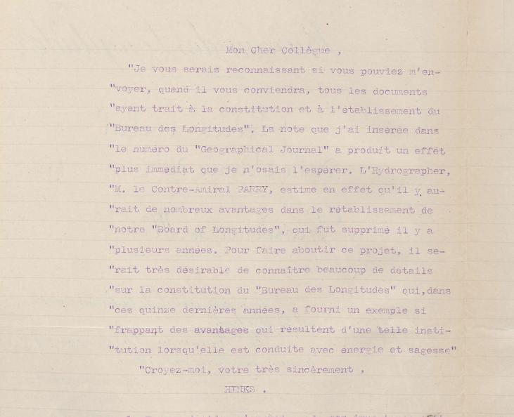 Lettre adressée par Arthur Robert Hinks, secrétaire de la <em>Royal geographical society</em>, aux membres du Bureau des longitudes pour leur demander les documents concernant sa création (extrait du procès-verbal de la séance du 23 mai 1917).