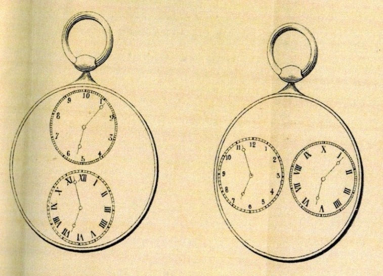 Montres donnant l'heure décimale et l'heure actuelle dans le même mouvement