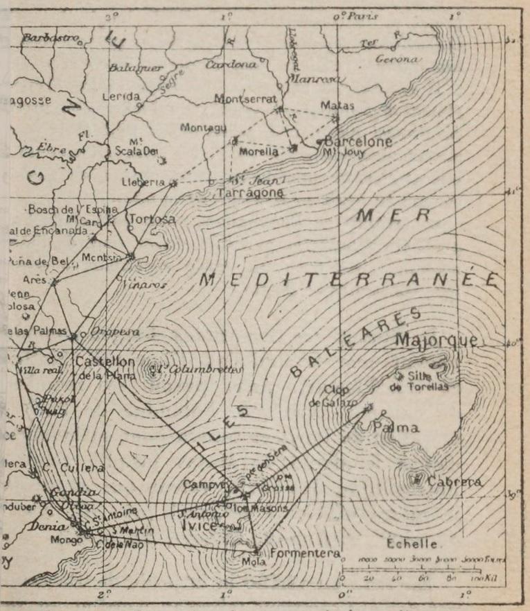 Triangles mesurés jusqu'à Formentera