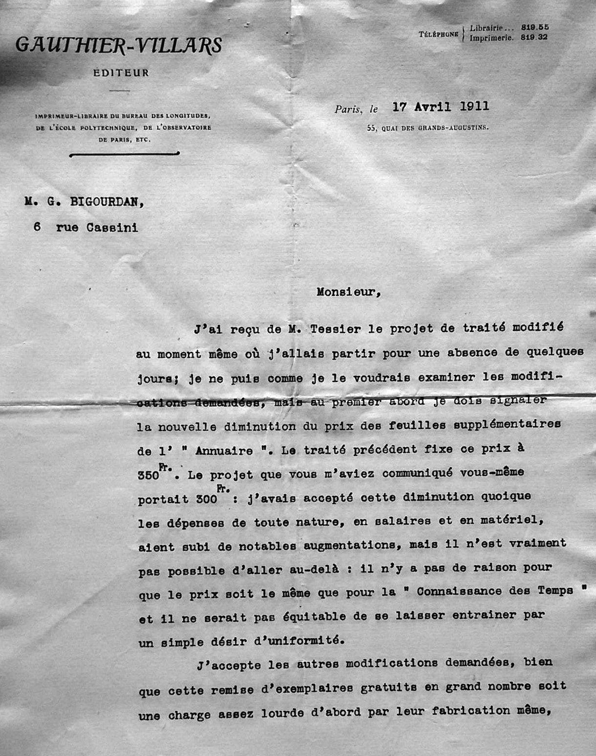 Extrait de l'avenant au contrat de 1911