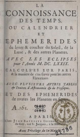 Titre et frontispice Connaissance des temps 1679