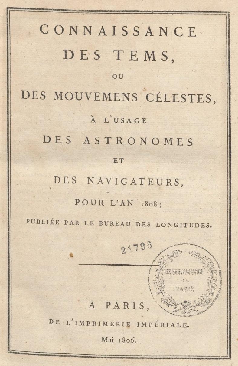 Connaissance des temps pour 1808