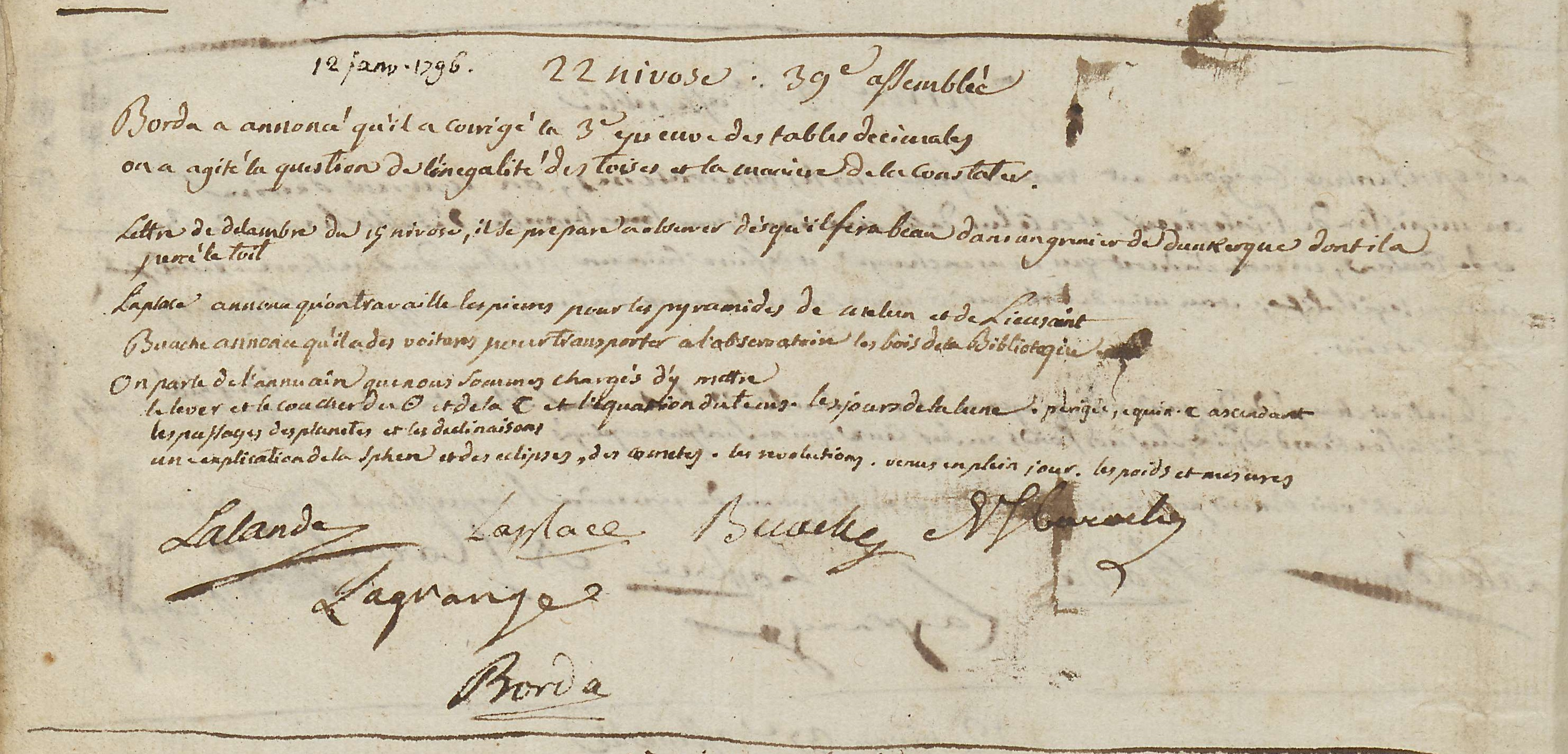 Procès-verbal du 12 janvier 1796