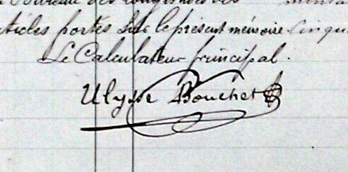 Signature d'Ulysse Bouchet, « calculateur principal » – Archives du BDL, fonds préservé aux Archives de l'Académie des Sciences
