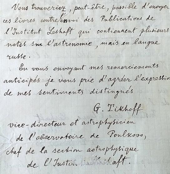 Extrait de la Lettre de Tikhoff au Président du Bureau des longitudes