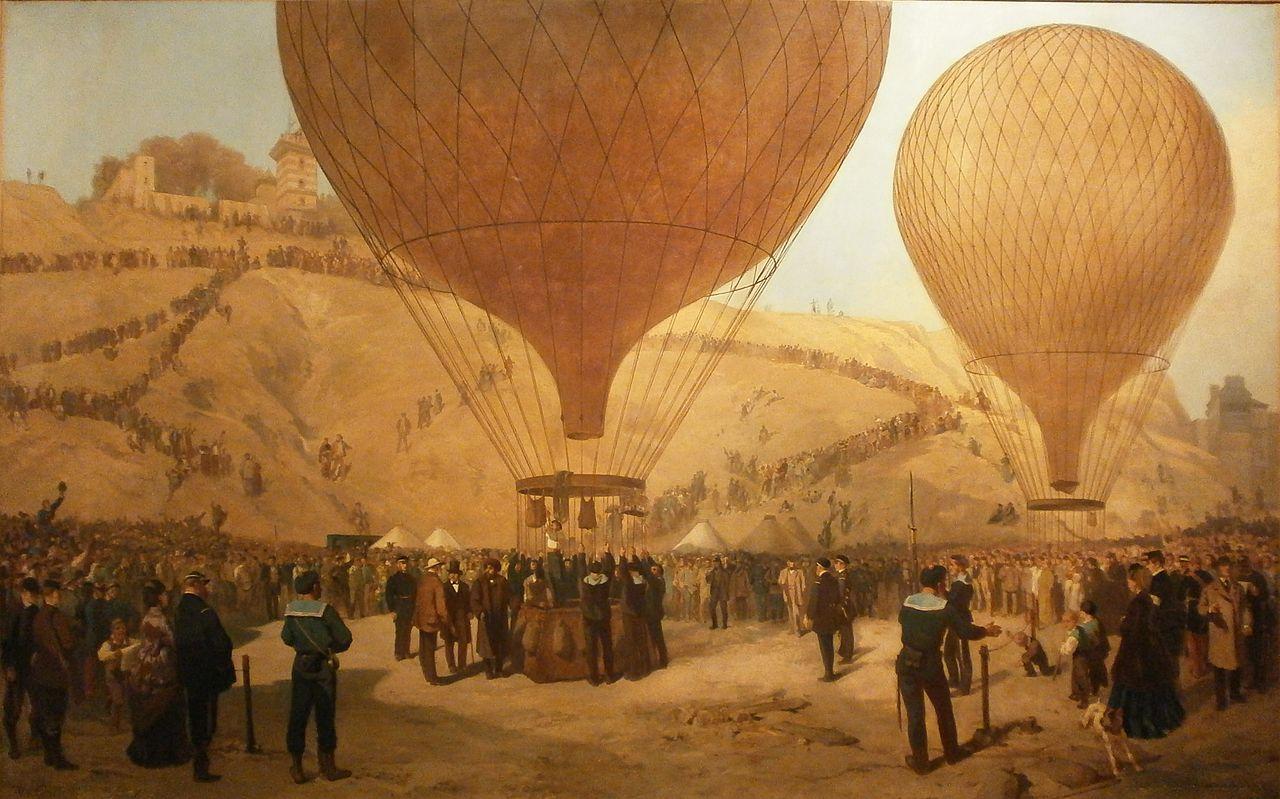 Départ de Gambetta en ballon Place Saint-Pierre le 7 octobre 1870