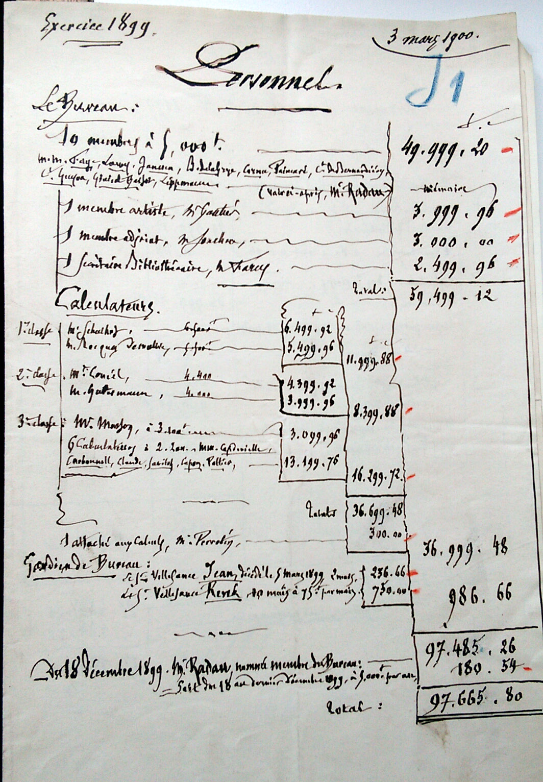 Liste des calculateurs pour 1899 – Archives nationales, Archives du BDL, Instruction publique, F17/13.571
