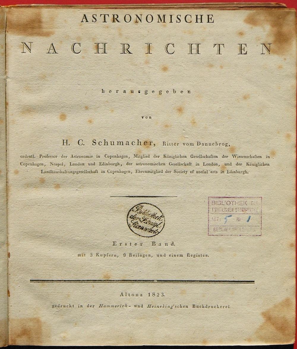 Premier numéro des Astronomische Nachrichten